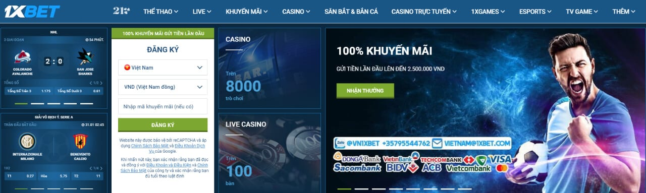 Giao diện web game 1xbet