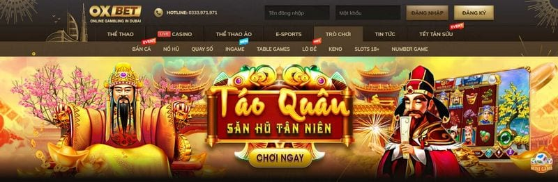 Giao diện Oxbet